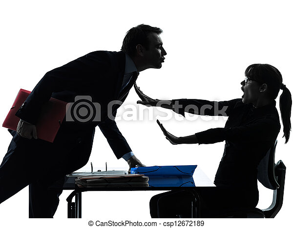 business woman man couple sexual harassment silhouette - csp12672189