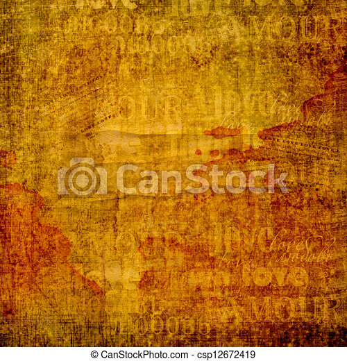 Grunge ancient used paper in scrapbooking style with text and hearts - csp12672419