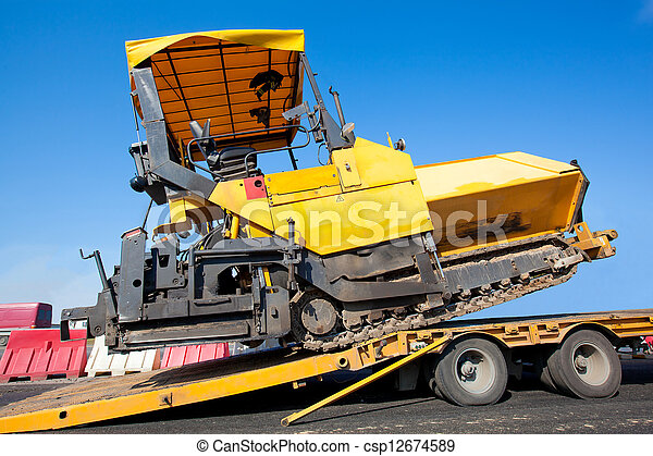 Transportation tracked paver machin - csp12674589