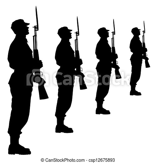 Silhouette soldiers during a military parade. Vector illustration. - csp12675893