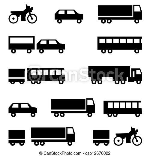 Set of vector icons - transportation symbols - csp12676022