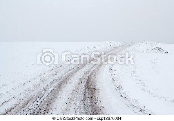 winter landscape with rural road - csp12676084