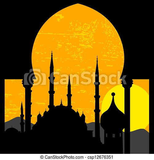clipart vektor von orientalische sonnenuntergang moschee grunge csp12676351 suchen. Black Bedroom Furniture Sets. Home Design Ideas