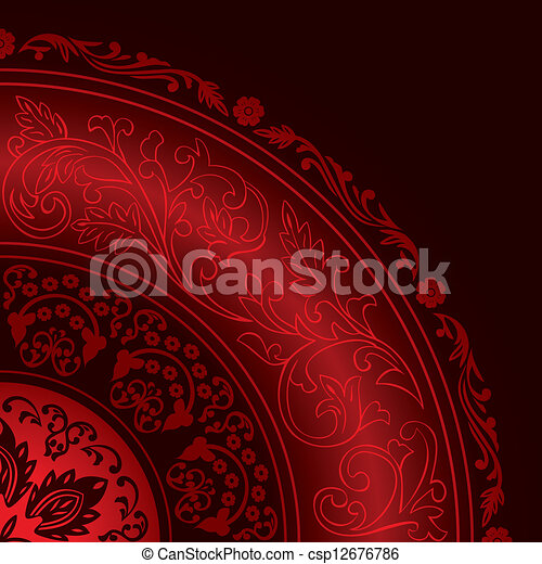 Decorative red frame with vintage round patterns - csp12676786