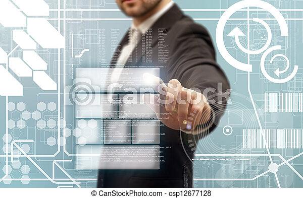 Business men touching a futuristic touchscreen interface - csp12677128