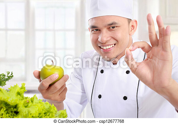 chef with healthy food - csp12677768