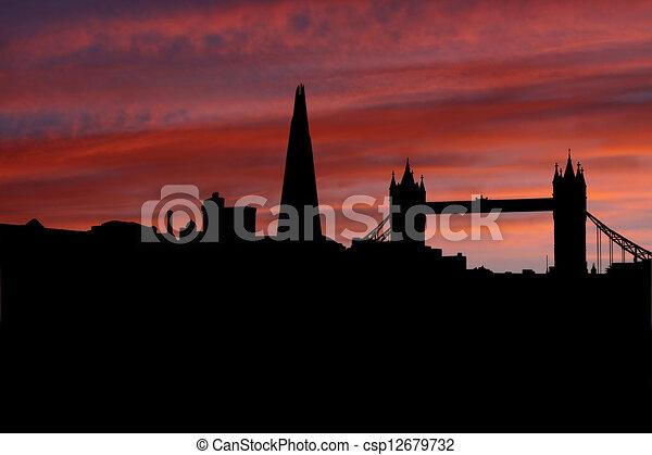 London skyline at sunset illustration - csp12679732