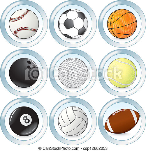 Vector Set of Buttons with Sport Balls - csp12682053