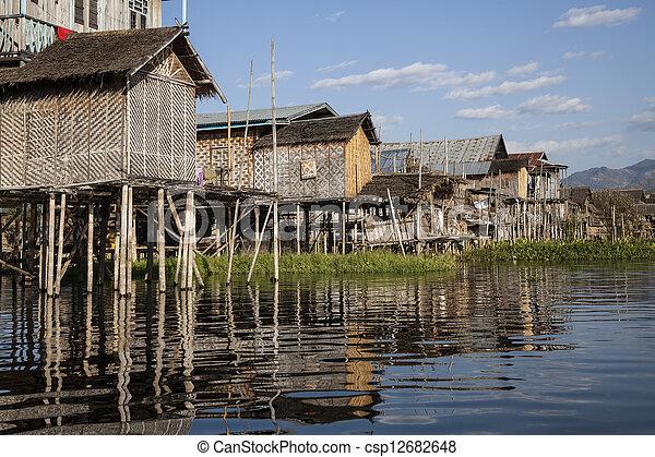 Myanmar, village on the lake - csp12682648