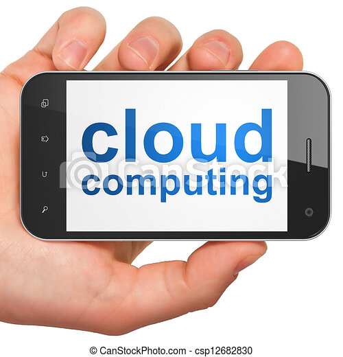 Cloud computing technology, networking concept: smartphone with - csp12682830