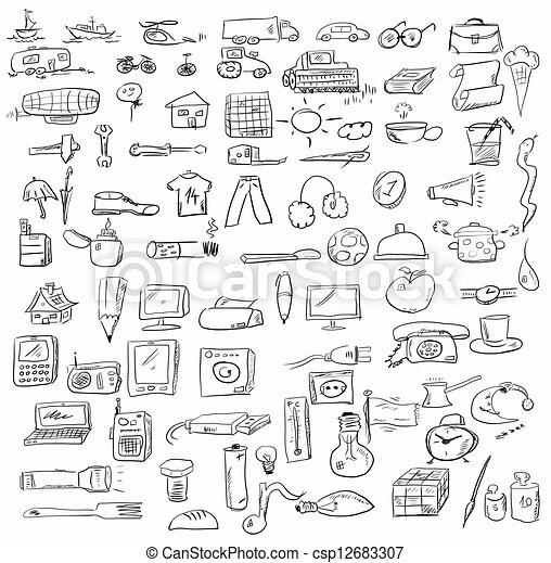 set doodle objects business icons - csp12683307