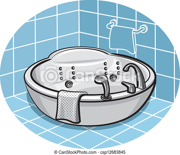 EPS Vector of Jacuzzi in a bathroom - Jacuzzi in a ...