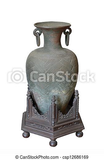 Ancient greek vase isolated on white - csp12686169