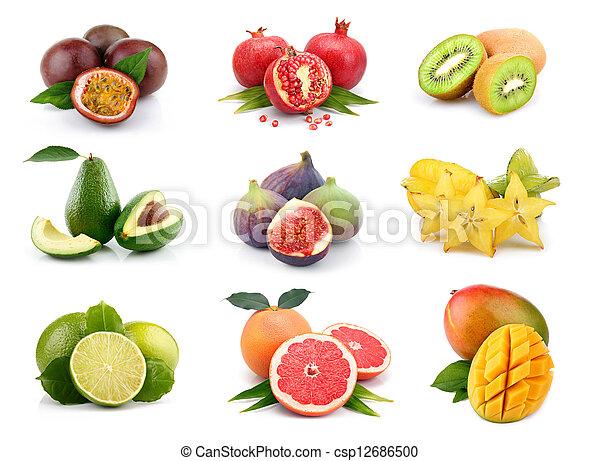 Set of exotic fruits isolated on white - csp12686500