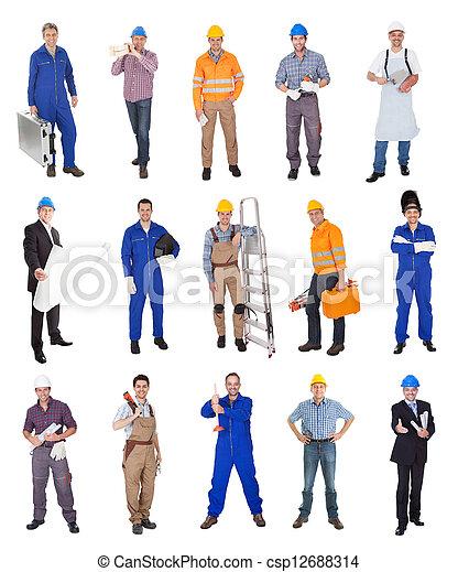 Industrial, Trabalhadores, construção - csp12688314