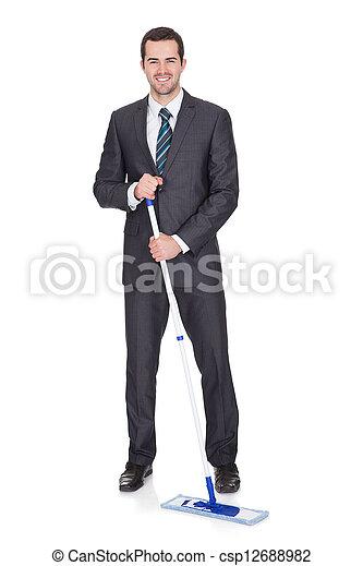 Stock foto gesch ftsmann putzen boden stock bilder for Boden putzen