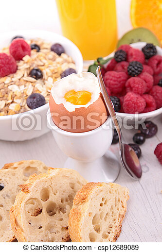 breakfast with egg and fruits - csp12689089