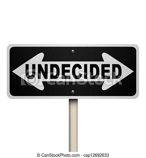 Undecided Word Two-Way Road Sign - Isolated - csp12692633