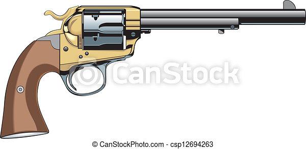 antique revolver drawing
