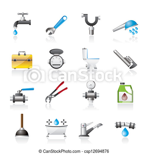 realistic plumbing objects icons - csp12694876