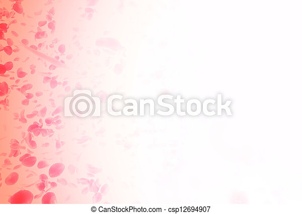 valentine  background with falling red rose petals - csp12694907