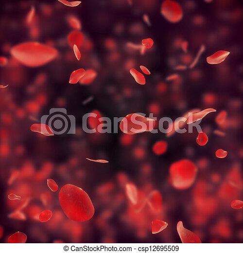 Falling red rose petals on dark bac - csp12695509
