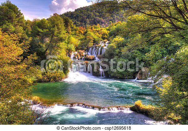 Krka green waterfalls - csp12695618