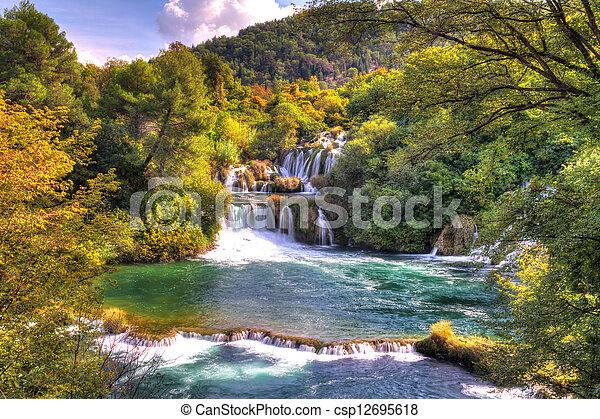 Krka green waterfalls - csp12695618