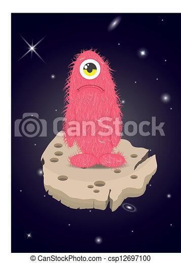 alien, verdrietige,  monster, verloren, ruimte - csp12697100