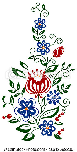 Beautiful floral element. flowers and leaves design element - csp12699200