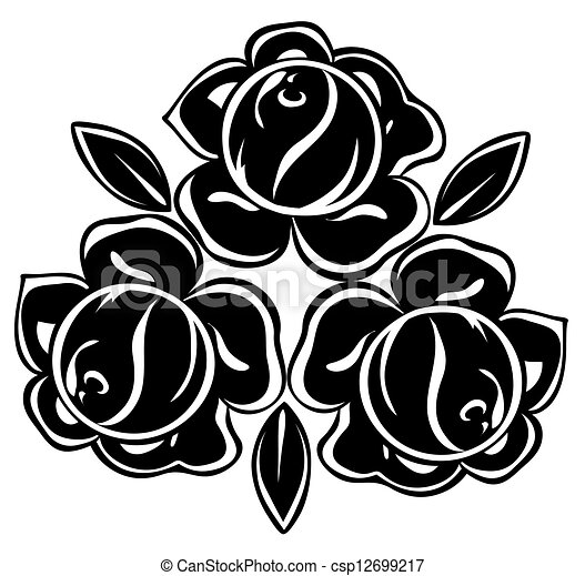 isolated illustration of black and white roses - csp12699217