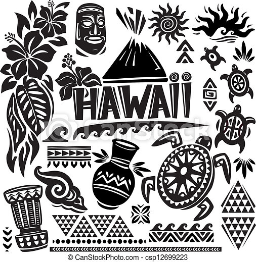 Hawaii Line Drawing Hawaii Set