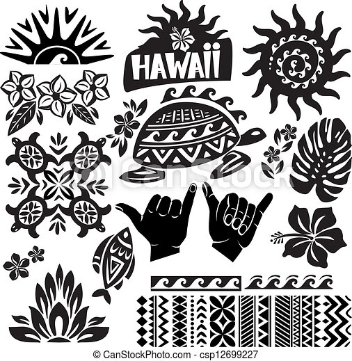 Hawaii Line Drawing Hawaii Set in Black And White