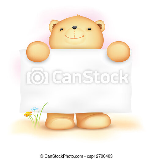 Cute Teddy Bear with Blank Board - csp12700403