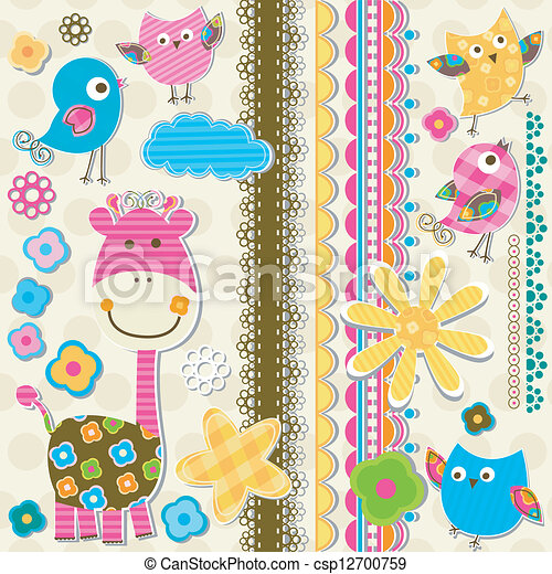 cute giraffe and birds - csp12700759
