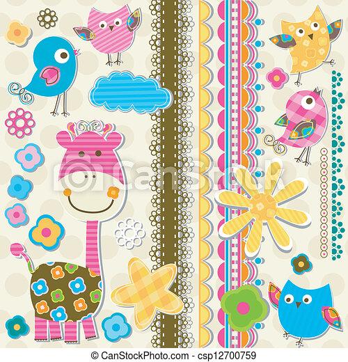 cute giraffe and birds - csp12700759