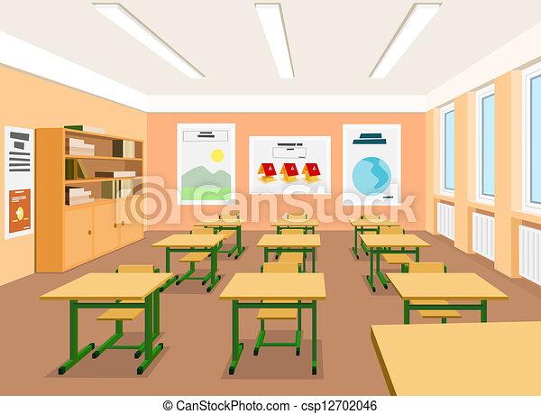 ... Clipart, Ilustración, Dibujos y Clipart de gáficos de imágenes: www.canstockphoto.es/vector-ilustración-vacío-aula-12702046.html