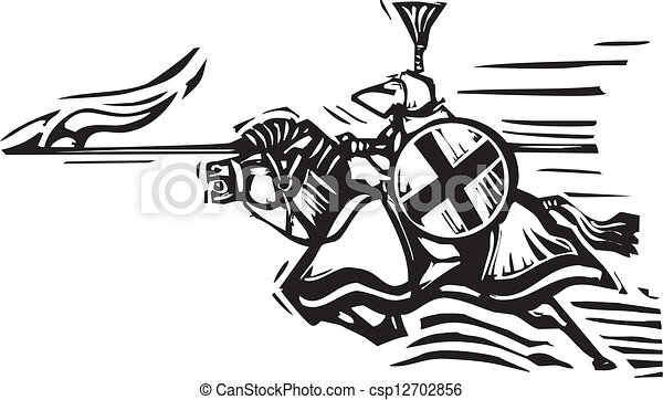 Clipart Vector of Jousting Knight Right - Woodcut expressionist ...