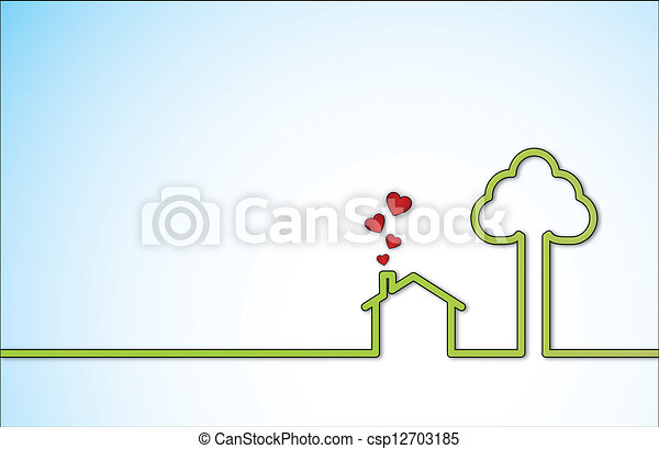 Green Sweet Home and Red Love Heart - csp12703185