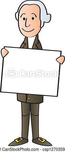 EPS Vectors of Washington Holding Sign - A cartoon George ...