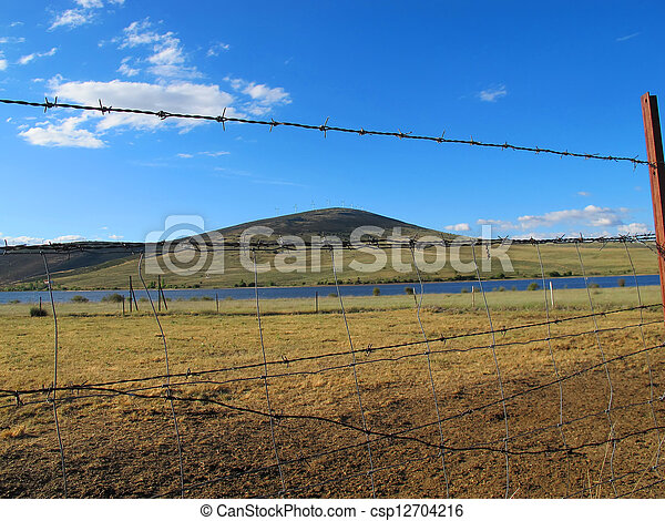 rustic wire fence to enclose the cattle in a large meadow - csp12704216