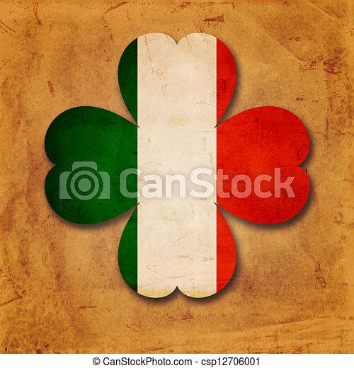 Irish flag in shamrock old paper background - csp12706001