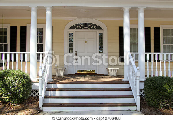 Stock image of front porch front steps leading up to a for Porches login