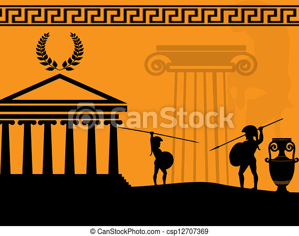 Ancient Arts Drawing Two Ancient Greek Warriors