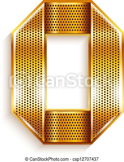 Number metal gold ribbon - 0 - zero - csp12707437