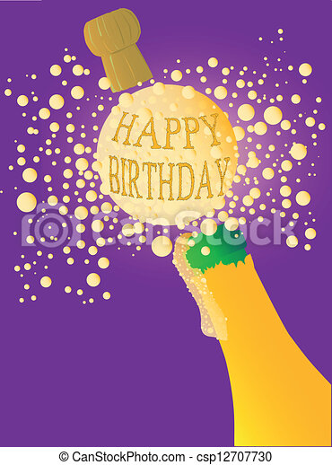Vectors Of Happy Birthday Champagne Champagne Bottle