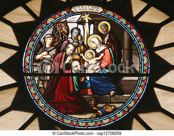 Nativity scene, stained glass, Church of St. Catherine, Bethlehem - csp12708259