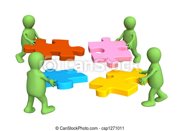 Four puppets, holding in hands a puzzle - csp1271011