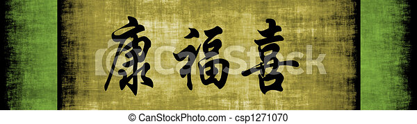 Health Wealth Happiness Chinese Motivational Phrase - csp1271070