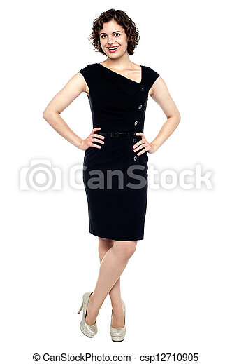 Beautiful young sensuality woman in black dress - csp12710905